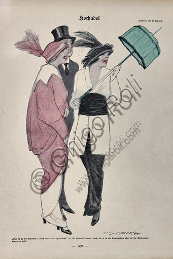 """""""Simplicissimus, n. 15"""", Illustration by Marcello Dudovich for  the satirical - humorous magazine, 1914, letterpress print."""