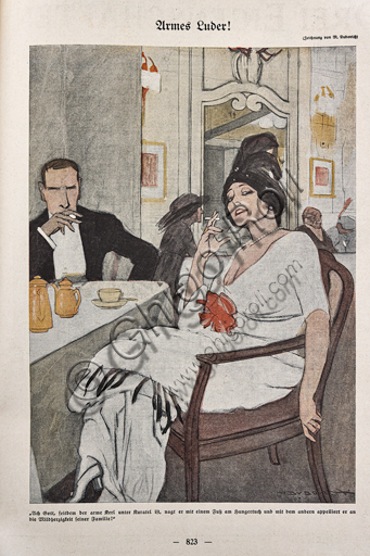"""""""Simplicissimus, n. 21"""", Illustration by Marcello Dudovich for  the satirical - humorous magazine, 1913, letterpress print."""