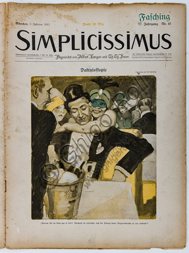 """""""Simplicissimus, n.45"""", Illustration by Marcello Dudovich for the cover of the satirical - humorous magazine, 1913, letterpress print."""