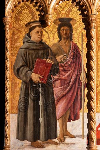 Perugia, Galleria Nazionale dell'Umbria: Polittico di S. Antonio, di Piero della Francesca, 1467-9, olio su tavola. Particolare: a sinistra, S. Antonio da Padova e S. Giovanni Battista.