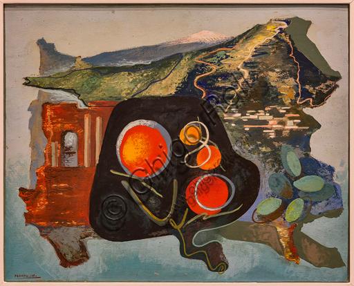 "Museo Novecento: ""Summary of Taormina"", 1938, by Enrico Prampolini. Oil on cardboard."