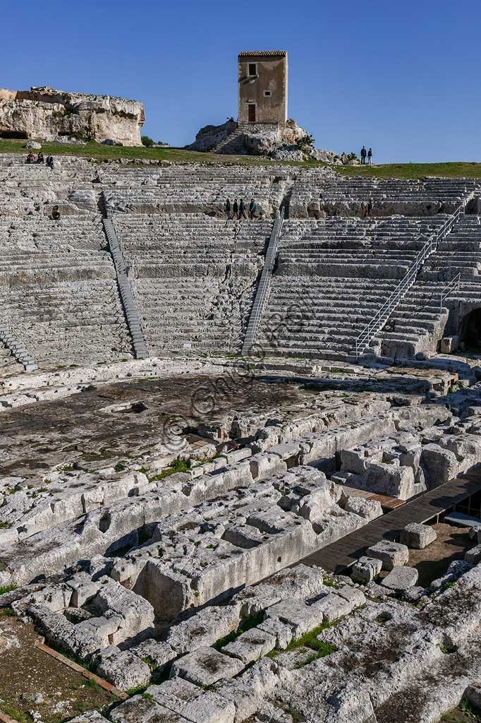 Syracuse, The Archaeological Park of the Neapolis of Syracuse: the Greek theatre, built  in the 5th century BC on the slopes on the south side of the Temenite hill. It was remade in the 3rd century BC and still re-transformed in Roman times.