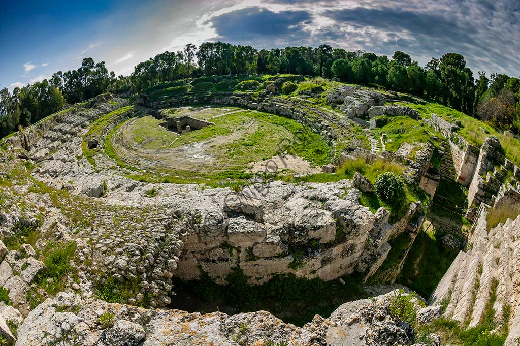 Syracuse, The Archaeological Park of the Neapolis of Syracuse: the Roman amphitheatre.