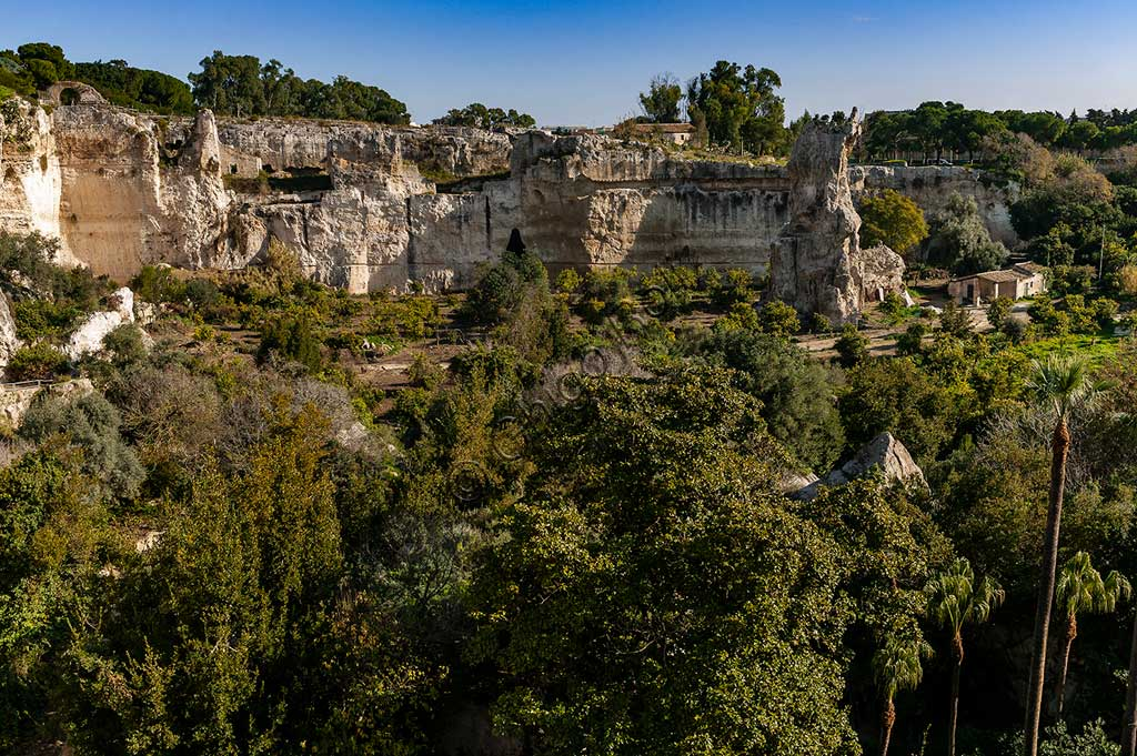 Syracuse, The Archaeological Park of the Neapolis of Syracuse: view of the latomie (prisons in quarries).