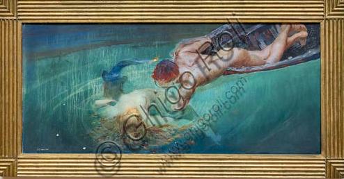 """Piacenza, Galleria Ricci Oddi: """"Sirena o abisso verde"""" (1900 circa), olio su tela di Giulio Aristide Sartorio (1860 - 1932)."""