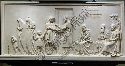 """""""Socrate si congeda dalla propria famiglia"""", 1787-90, di Antonio Canova (1757 - 1822), gesso."""