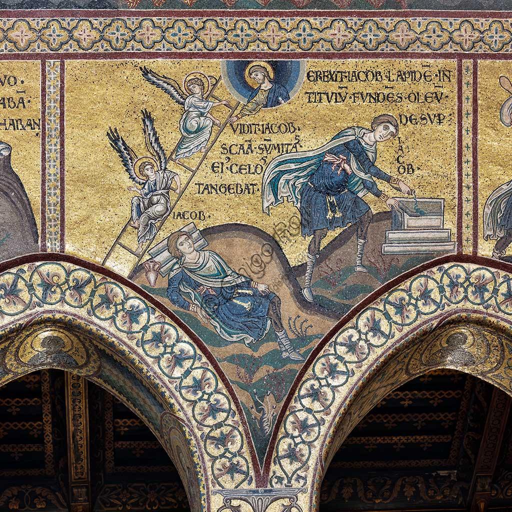 "Monreale, Duomo: ""Jacob's dream"", Byzantine mosaic, Old Testament cycle - Abraham, byzantine mosaic, XII - XIII centuryLatin inscription: ""VIDIT JACOB SCALAM SUMMITAS EIUS CÆLOS TANGEBAT - EREXIT JACOB LAPIDEM IN TITULUM FUNDENS OLEUM DESUPER""."