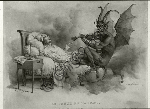 """Tartini's dream"""", illustration by Louis-Léopold Boilly (1761-1845) referring to the anecdote of the dream that inspired the composition of the sonata in G minor for violin and continuo, better known as the devil's trill."""