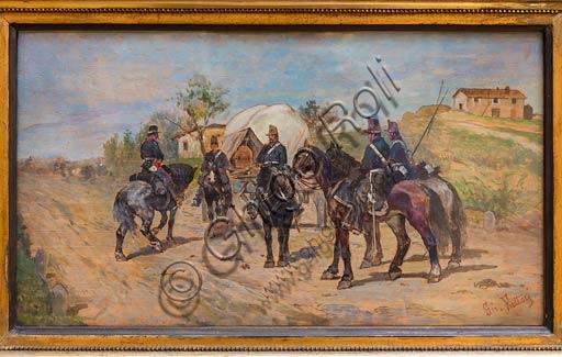 """Piacenza, Galleria Ricci Oddi:  """"Sosta di cavalleria"""" (1861 - 1864), olio  su tavola di Giovanni Fattori (1825 - 1908)."""