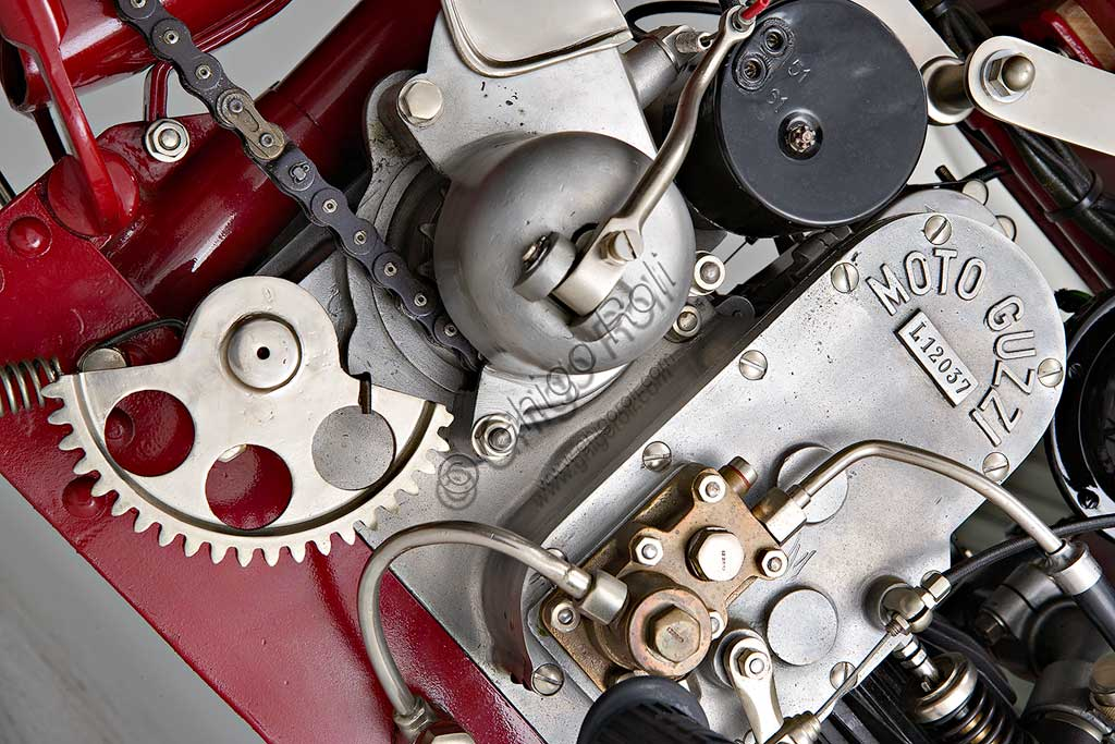 Ancient Motorbike Guzzi Sport 14. Engine.