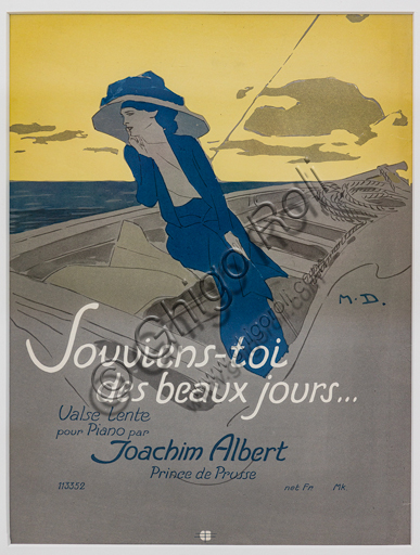 """""""Souviens-toi des beaux jours"""", Illustration by Marcello Dudovich, 1899-1906, chromolithography on paper."""
