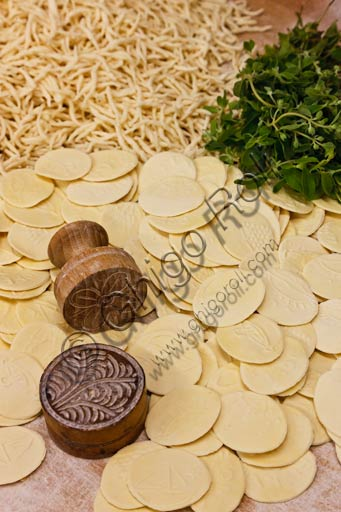 Ligurian gastronomical products: hand made pasta (trofie and corzetti.