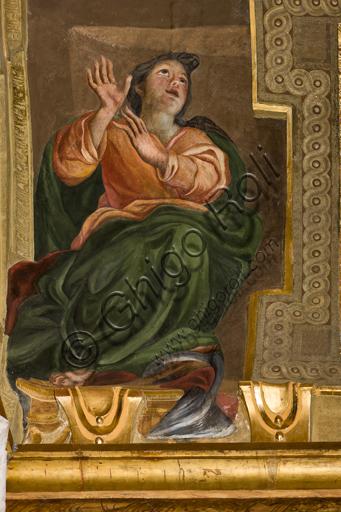 """Genova, Duomo (Cattedrale di S. Lorenzo),  interno, Cappella Senarega o di Nostra Signora del Soccorso (abside meridionale), volta: """"Speranza"""", di Giovanni Andrea Carlone (1690 circa)."""