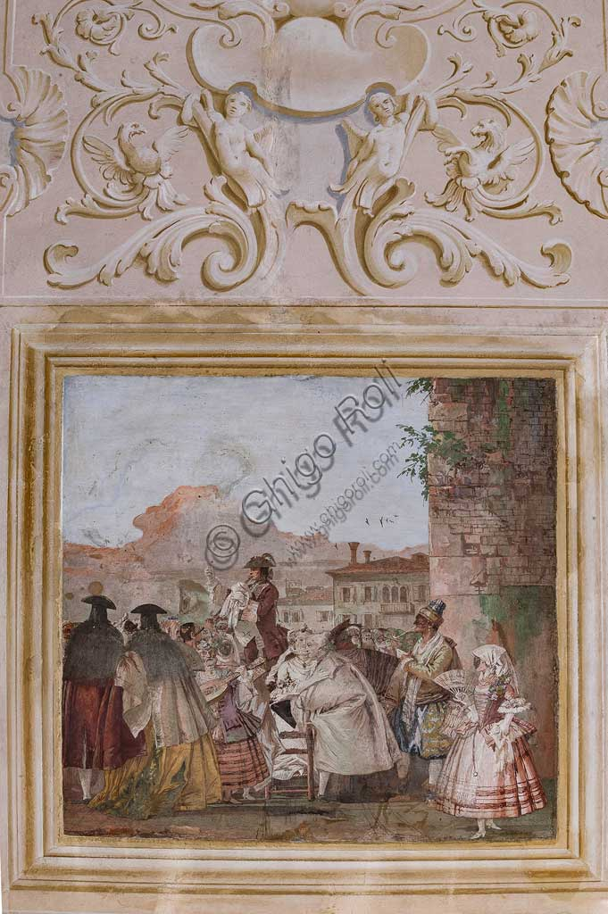 "Vicenza, Villa Valmarana ai Nani, Guest Lodgings, the Room of the Carnival Scenes: ""Show of a Charlatan"", a scene with masks imitating an oil paiting. Frescoes by Giandomenico Tiepolo, 1757."