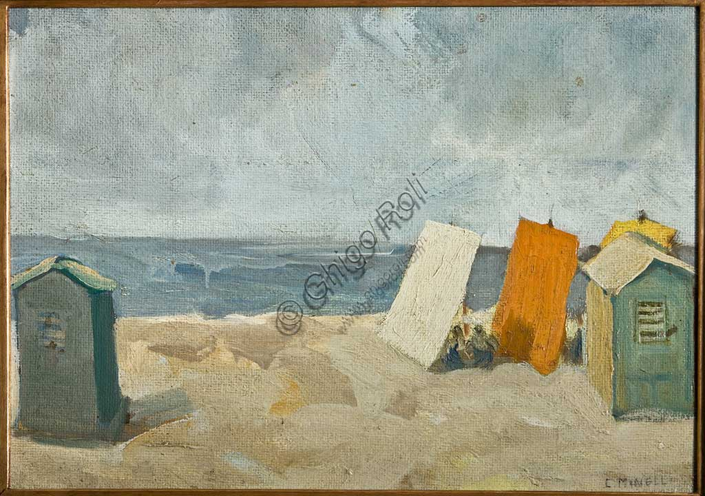 "Assicoop - Unipol Collection:  Carlo Minelli;""Beach and ""; oil on cardboard. Recto."