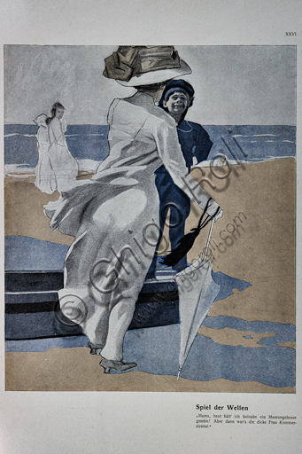 """""""Spiel der Welle (Game of Wave!)"""", Illustration by Marcello Dudovich, 1911, litograph print."""