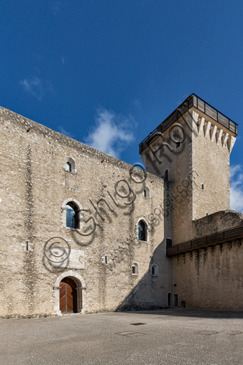 Spoleto, Rocca Albornoz (Stronghold): South Courtyard of Honour and Tower.