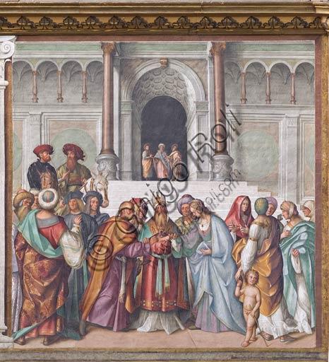 """Cremona, Duomo (Cattedrale di S. Maria Assunta), interno, navata mediana, prima campata sinistra, secondo arcone: """"Sposalizio della Vergine"""", affresco di Boccaccio Boccaccino, 1515."""