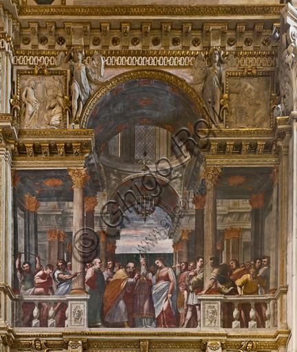 """Genova, Duomo (Cattedrale di S. Lorenzo), interno, Cappella Lercari o del Santissimo Sacramento (abside settentrionale),  fianco meridionale: """"Sposalizio della Vergine"""", affresco di Luca Cambiaso, 1569."""
