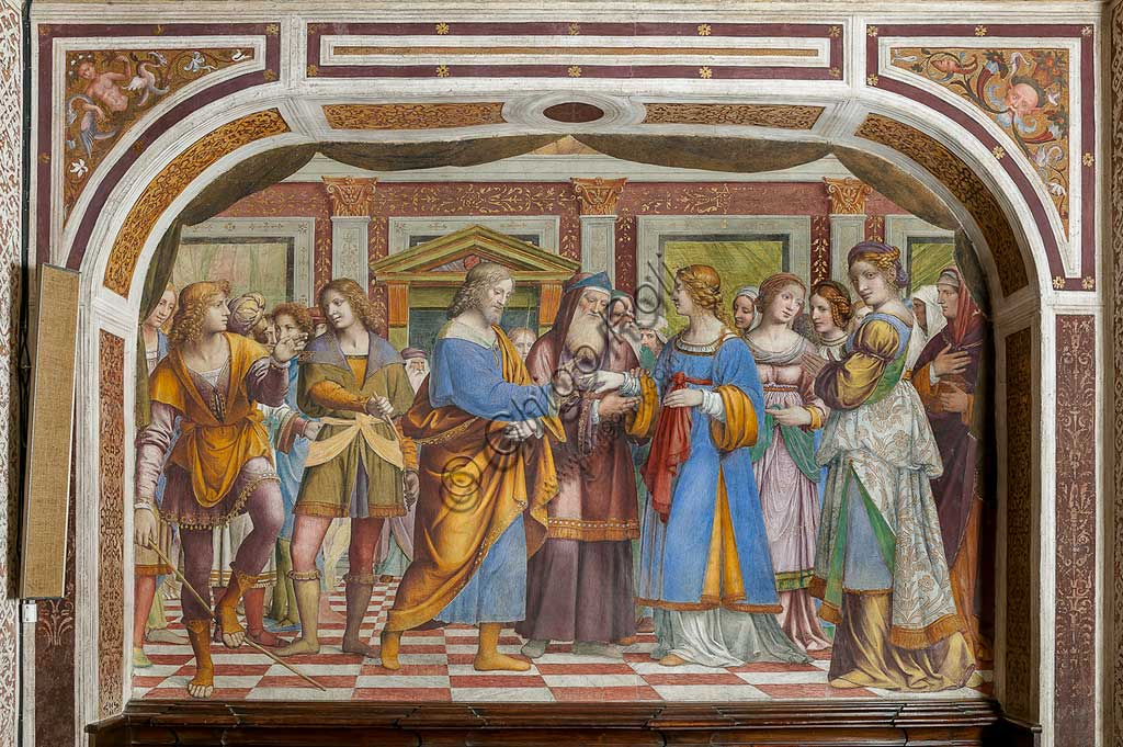 """Saronno, Shrine of Our Lady of Miracles: """"The Marriage of the Virgin Mary"""", fresco by Bernardino Luini, 1525 - 1532."""