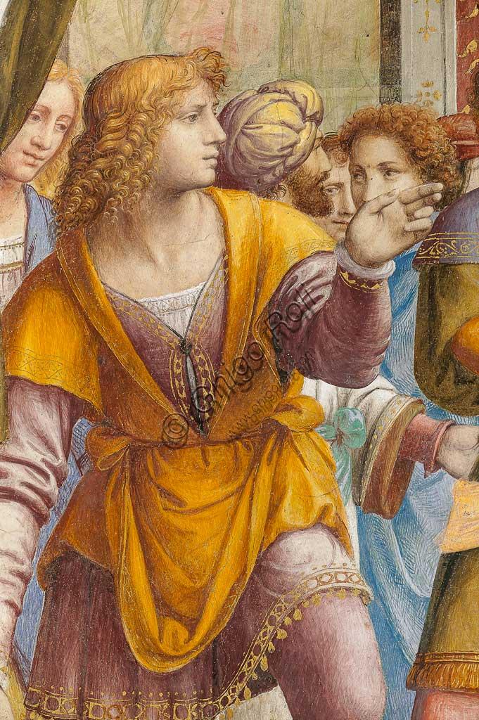 """Saronno, Santuario della Beata Vergine dei Miracoli, Antipresbiterio: """"Sposalizio della Vergine"""", affresco di Bernardino Luini, 1525 - 1532. Particolare con giovani uomini."""
