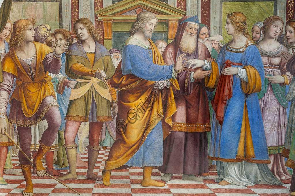 """Saronno, Santuario della Beata Vergine dei Miracoli, Antipresbiterio: """"Sposalizio della Vergine"""", affresco di Bernardino Luini, 1525 - 1532. Particolare."""