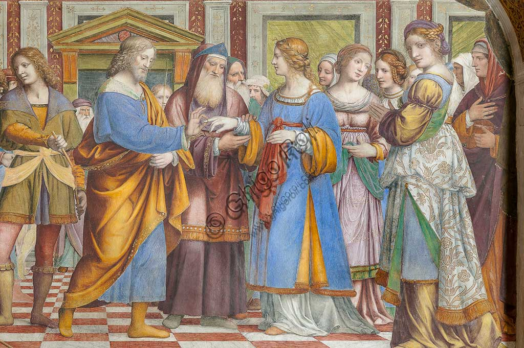 """Saronno, Shrine of Our Lady of Miracles: """"The Marriage of the Virgin Mary"""", fresco by Bernardino Luini, 1525 - 1532. Detail."""