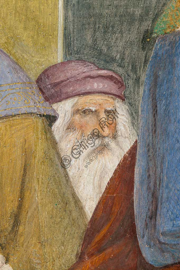 """Saronno, Santuario della Beata Vergine dei Miracoli, Antipresbiterio: """"Sposalizio della Vergine"""", affresco di Bernardino Luini, 1525 - 1532. Particolare con vecchio, si ritiene che potrebbe essere Leonardo ritratto nei suoi ultimi anni."""