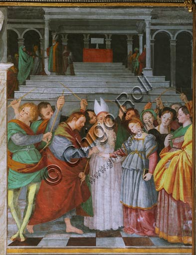 "Vercelli, Church of St. Christopher, Chapel of the blessed Virgin or of the Assunta: ""The Marriage of the Virgin"""". Above, ""Presentation of Mary at the Temple"". Fresco by Gaudenzio Ferrari, 1529 - 1534."