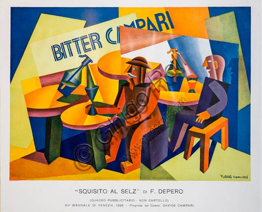 "Rovereto, Casa Depero: advertising painting  ""Squisito al selz"" for Bitter Campari, by Fortunato Depero, 1926."