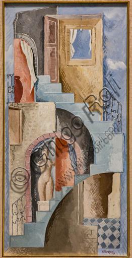 """Museo Novecento: """"Statua e scala"""", di Renato Paresce, 1931. Tecnica mista su cartoncino."""