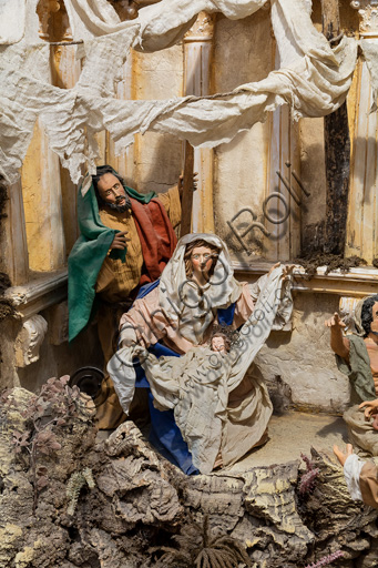 Assisi, Sicilian Nativity scene by Ivano Vecchio: detail with the small statues of the Nativity.