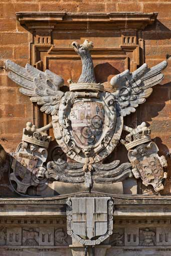 Palermo, The Royal Palace or Palazzo dei Normanni (Palace of the Normans), North-East side: detail of the coat of arms with an Aragon eagle on the main portal of the Renaissance wing.