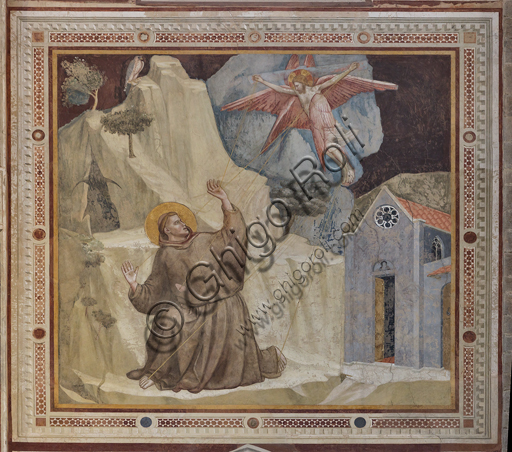 "Basilica of the Holy Cross, transept, external part of the Bardi Chapel: ""St. Francis and the Stigmata"", (1320 - 1325)  by Giotto."
