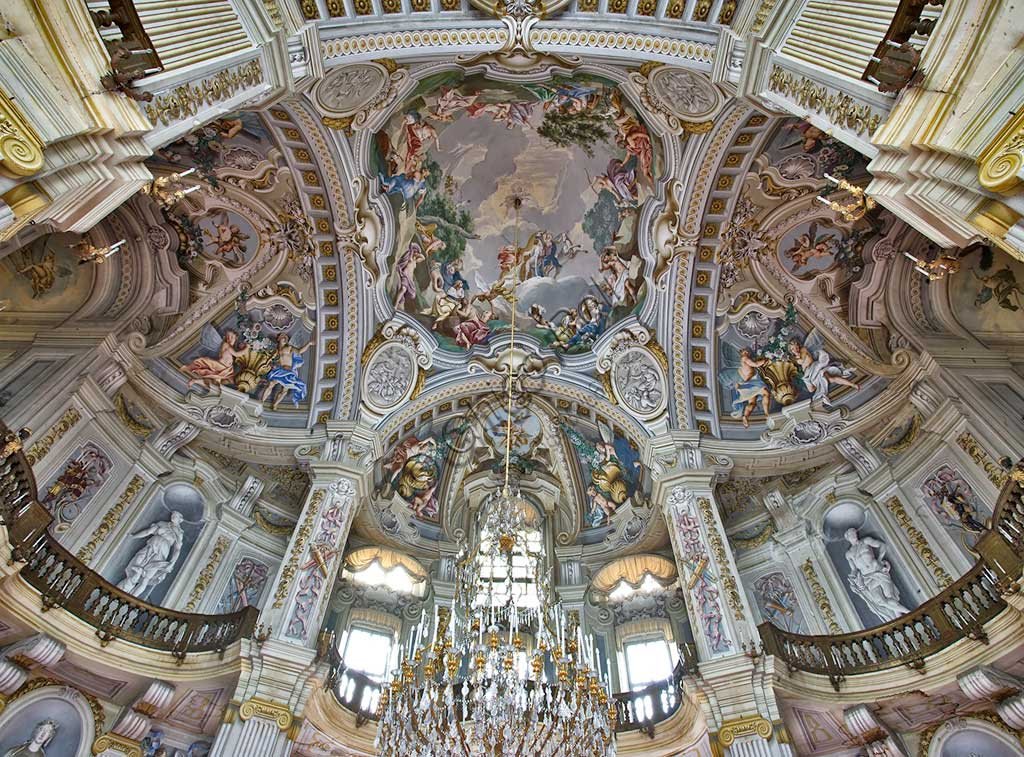 "The Hunting Residence of Stupinigi, the Hall of the Parties (the Central Hall),: frescoes representing ""Stories of Diana"", by Giuseppe e Domenico Valeriani (1731 - 33). Detail."