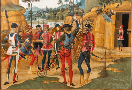 """Perugia, National Gallery of Umbria: """"Stories of Saint Bernardino"""", cycle of eight tablets painted in tempera, dated 1473. Cautiously referred to a """"Maestro"""" or """"Bottega del 1473"""",  some of the best Umbrian painters of the time worked on them. """"Release of a Prisoner"""", attributed to PInturicchio. Detail."""