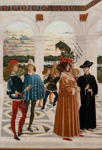 """Perugia, Galleria Nazionale dell'Umbria: """"Storie di san Bernardino"""", ciclo di otto tavolette dipinte a tempera, datate 1473. Riferite prudentemente a un """"Maestro"""" o """"Bottega del 1473"""", vi parteciparono alcuni dei migliori pittori umbri dell'epoca,  """"Miracolo del bambino nato morto""""; attribuito a Pietro Perugino."""