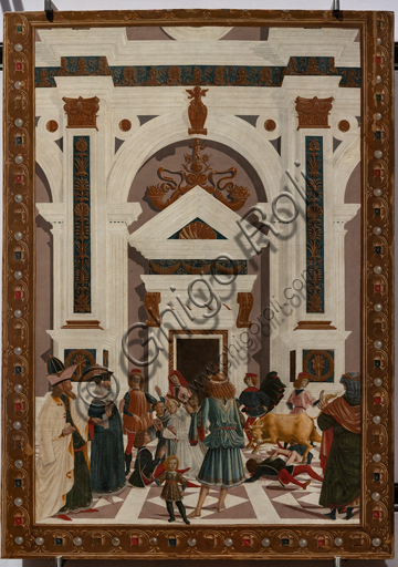"""Perugia, National Gallery of Umbria: """"Stories of Saint Bernardino"""", cycle of eight tablets painted in tempera, dated 1473. Cautiously referred to a """"Maestro"""" or """"Bottega del 1473"""",  some of the best Umbrian painters of the time worked on them. """"St Bernardino heals Nicola di Lorenzo da Prato, overwhelmed by a bull""""."""
