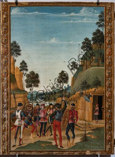 """Perugia, Galleria Nazionale dell'Umbria: """"Storie di san Bernardino"""", ciclo di otto tavolette dipinte a tempera, datate 1473. Riferite prudentemente a un """"Maestro"""" o """"Bottega del 1473"""", vi parteciparono alcuni dei migliori pittori umbri dell'epoca.""""Liberazione di un prigioniero"""", attribuito al Pinturicchio."""
