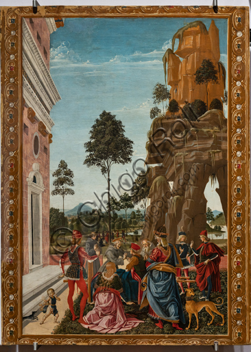 """Perugia, National Gallery of Umbria: """"Stories of Saint Bernardino"""", cycle of eight tablets painted in tempera, dated 1473. Cautiously referred to a """"Maestro"""" or """"Bottega del 1473"""",  some of the best Umbrian painters of the time worked on them. """"St Bernardino calls to life a man found dead under a tree"""", attributed to PInturicchio."""