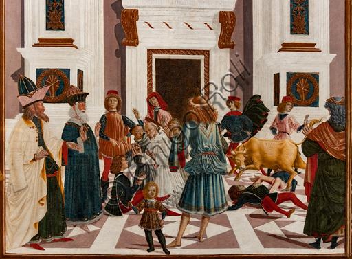 """Perugia, Galleria Nazionale dell'Umbria: """"Storie di san Bernardino"""", ciclo di otto tavolette dipinte a tempera, datate 1473. Riferite prudentemente a un """"Maestro"""" o """"Bottega del 1473"""", vi parteciparono alcuni dei migliori pittori umbri dell'epoca,  """"San Bernardino guarisce Nicola di Lorenzo da Prato, travolto da un toro"""". Particolare."""