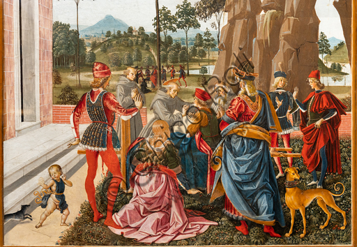 """Perugia, National Gallery of Umbria: """"Stories of Saint Bernardino"""", cycle of eight tablets painted in tempera, dated 1473. Cautiously referred to a """"Maestro"""" or """"Bottega del 1473"""",  some of the best Umbrian painters of the time worked on them. """"St Bernardino calls to life a man found dead under a tree"""", attributed to PInturicchio. Detail."""