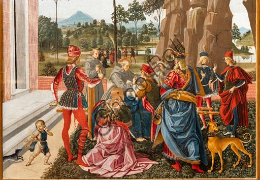 """Perugia, Galleria Nazionale dell'Umbria: """"Storie di san Bernardino"""", ciclo di otto tavolette dipinte a tempera, datate 1473. Riferite prudentemente a un """"Maestro"""" o """"Bottega del 1473"""", vi parteciparono alcuni dei migliori pittori umbri dell'epoca.""""San Bernardino richiama alla vita un uomo trovato morto sotto un albero"""", attribuito al Pinturicchio. Particolare."""