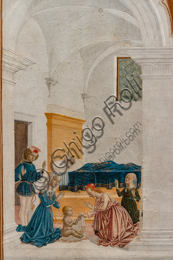 """Perugia, Galleria Nazionale dell'Umbria: """"Storie di san Bernardino"""", ciclo di otto tavolette dipinte a tempera, datate 1473. Riferite prudentemente a un """"Maestro"""" o """"Bottega del 1473"""", vi parteciparono alcuni dei migliori pittori umbri dell'epoca,  """"Miracolo del bambino nato morto""""; attribuito a Pietro Perugino. Particolare."""