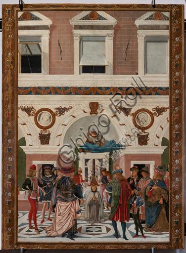 """Perugia, Galleria Nazionale dell'Umbria: """"Storie di san Bernardino"""", ciclo di otto tavolette dipinte a tempera, datate 1473. Riferite prudentemente a un """"Maestro"""" o """"Bottega del 1473"""", vi parteciparono alcuni dei migliori pittori umbri dell'epoca,  """"Guarigione del cieco"""", attribuito al Pinturicchio."""