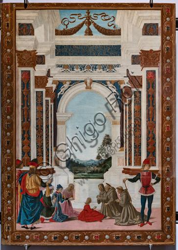 """Perugia, Galleria Nazionale dell'Umbria: """"Storie di san Bernardino"""", ciclo di otto tavolette dipinte a tempera, datate 1473. Riferite prudentemente a un """"Maestro"""" o """"Bottega del 1473"""", vi parteciparono alcuni dei migliori pittori umbri dell'epoca.""""S. Bernardino risana una fanciulla""""; attribuito a Pietro Perugino."""