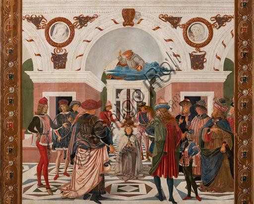 """Perugia, Galleria Nazionale dell'Umbria: """"Storie di san Bernardino"""", ciclo di otto tavolette dipinte a tempera, datate 1473. Riferite prudentemente a un """"Maestro"""" o """"Bottega del 1473"""", vi parteciparono alcuni dei migliori pittori umbri dell'epoca,  Particolare de """"Guarigione del cieco"""", attribuito al Pinturicchio."""