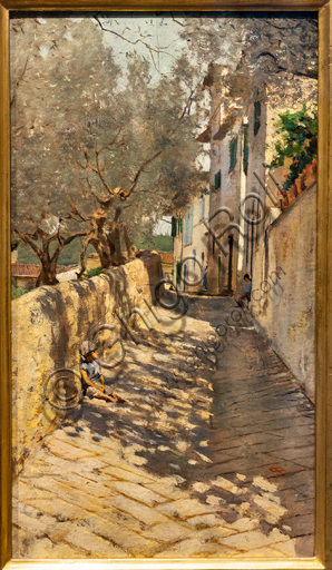 """Telemaco Signorini: """"Alley to the Capponcina"""",  1885, oil painting on canvas."""