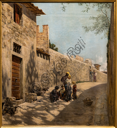 """Telemaco Signorini: """"Small Tuscany Street with figures"""", 1874, oil painting on canvas."""
