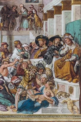 """Cremona, Duomo (Cattedrale di S. Maria Assunta), interno, presbiterio, settimo arcone: particolare della """"Strage degli Innocenti"""", affresco di Altobello Melone, 1517."""
